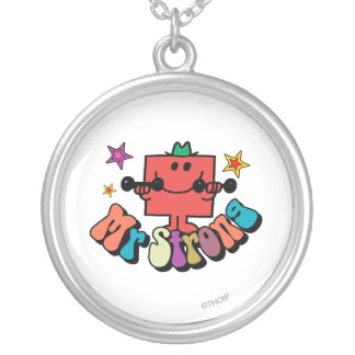 Mr. Strong   Colorful Lettering & Stars Round Pendant Necklace