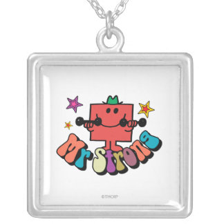 Mr. Strong | Colorful Lettering & Stars Square Pendant Necklace