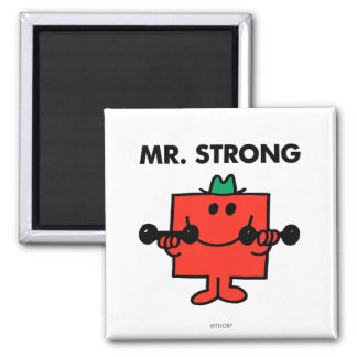 Mr. Strong   Lifting Weights 2 Inch Square Magnet