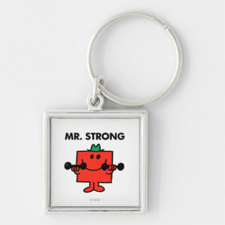 Mr. Strong | Lifting Weights Silver-Colored Square Keychain