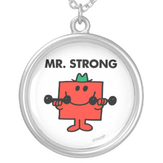 Mr. Strong | Lifting Weights Round Pendant Necklace