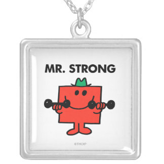 Mr. Strong   Lifting Weights Square Pendant Necklace