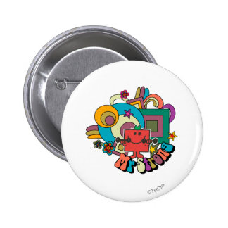 Mr. Strong   Psychedelic Swirls, Stars, & Flowers 2 Inch Round Button