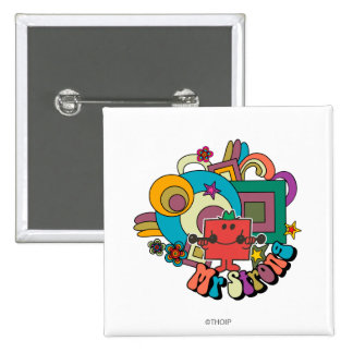 Mr. Strong   Psychedelic Swirls, Stars, & Flowers 2 Inch Square Button
