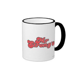 Mr. Strong   Red Lettering Ringer Coffee Mug