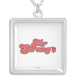 Mr. Strong   Red Lettering Square Pendant Necklace