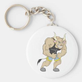 Mr Strong Shirt   Cute Muscular Mr Strong Ox Shirt Basic Round Button Keychain