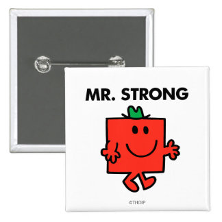 Mr. Strong Waving Hello 2 Inch Square Button