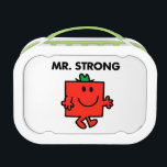 """Mr. Strong Waving Hello Lunch Box<br><div class=""""desc"""">Thank goodness that Mr. Strong is such a happy person. Imagine what he would be like with all of his strength and none of the respect he has for his fellow Mr. Men and Little Miss friends. Mr. Strong loves helping people out with their troubles, and regrets when his strength...</div>"""