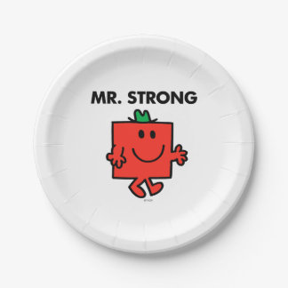 Mr. Strong Waving Hello Paper Plate