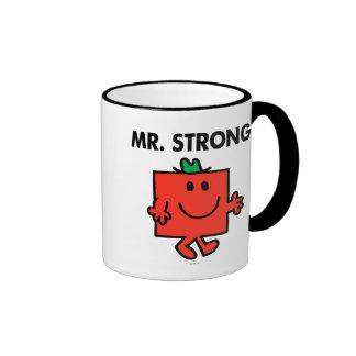 Mr. Strong Waving Hello Ringer Coffee Mug