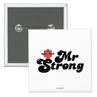Mr. Strong   Weights & Bubble Lettering 2 Inch Square Button