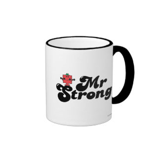 Mr. Strong   Weights & Bubble Lettering Ringer Coffee Mug