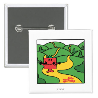 Mr. Strong   Woodland Workout 2 Inch Square Button