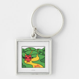 Mr. Strong   Woodland Workout Silver-Colored Square Keychain