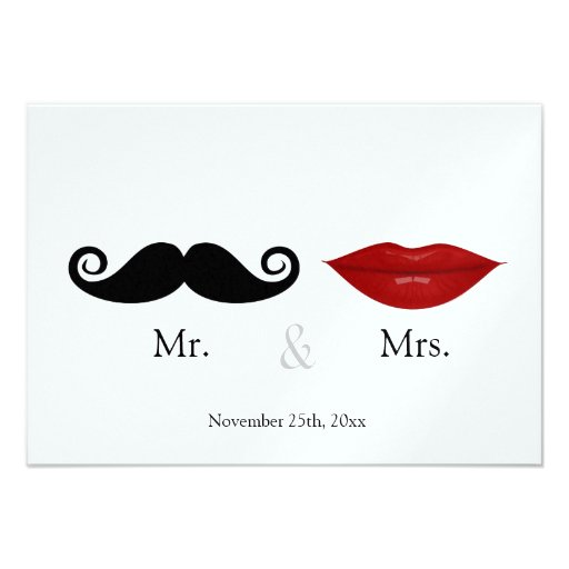 Mr. & the Mrs (Lips and the Stache) Wedding RSVP Personalized Announcement