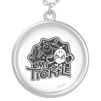 Mr. Tickle | Black & White Fun Round Pendant Necklace
