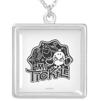 Mr. Tickle | Black & White Fun Square Pendant Necklace