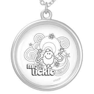 Mr. Tickle | Black & White Swirls & Stars Silver Plated Necklace
