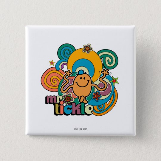 Mr. Tickle | Psychedelic Swirls, Stars, & Flowers Button