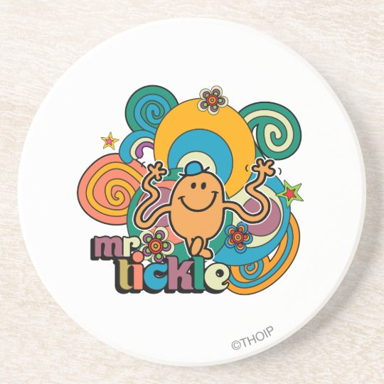Mr. Tickle | Psychedelic Swirls, Stars, & Flowers Drink Coaster