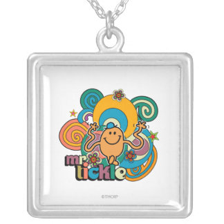 Mr. Tickle | Psychedelic Swirls, Stars, & Flowers Square Pendant Necklace