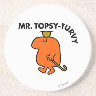 Mr. Topsy-Turvy | Upside Down Hat & Cane Drink Coaster