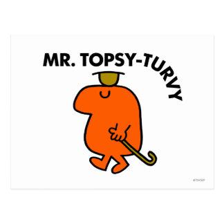 Mr. Topsy-Turvy | Upside Down Hat & Cane Postcard