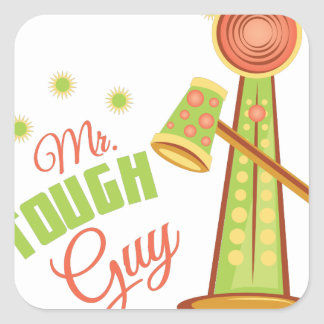Mr Tough Guy Square Sticker