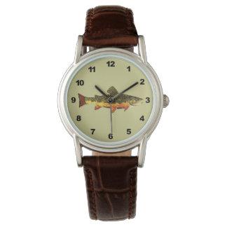 Mr. Trout Whiskers' Brookie, salvelinus fontinalis Wrist Watch