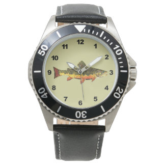 Mr. Trout Whiskers' Brookie, salvelinus fontinalis Wrist Watch