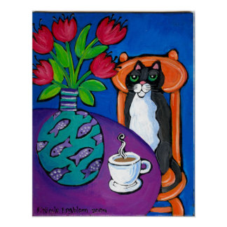 Mr. Tuxedo and me whimsical painting by Nicole E. Poster