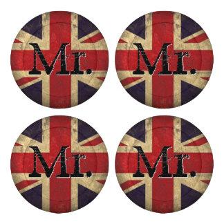 Mr. Union Jack U.K. Flag Button Covers