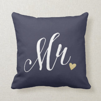 Mr.Wedding and Anniversary Blue Throw Pillow