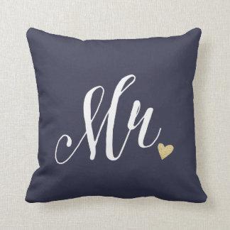Mr.Wedding y azul del aniversario Cojín Decorativo