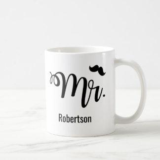 Mr. with a mustache coffee mug
