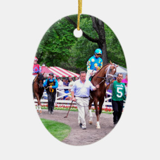 Mr. Z in the 100th Sanford Stakes Double-Sided Oval Ceramic Christmas Ornament