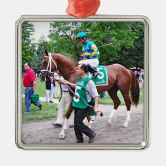 Mr. Z in the 100th Sanford Stakes Square Metal Christmas Ornament