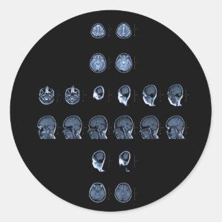 MRI Cross Round Stickers