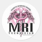MRI Pink Caduceus Classic Round Sticker
