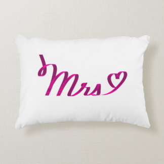 """""""Mrs <3"""" in Dark Pink Ribbon Accent Pillow"""