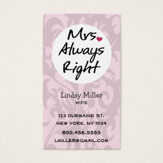 Mrs Always Right Business Card