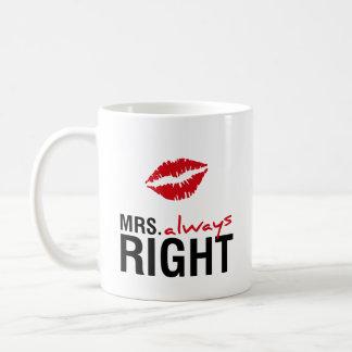 Mrs. always right classic white coffee mug