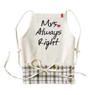 Mrs Always Right Zazzle HEART Apron