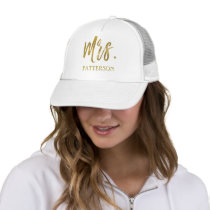 Mrs. and Last Name Faux Gold Foil Trucker Hat