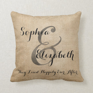 Mrs and Mrs Burlap lesbian Wedding Personalized Pillows