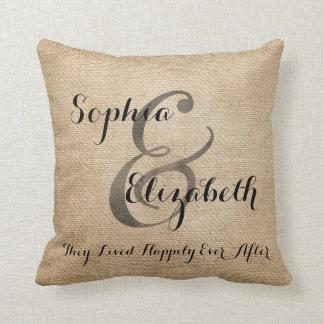 Mrs and Mrs Burlap lesbian Wedding Personalized Pillow