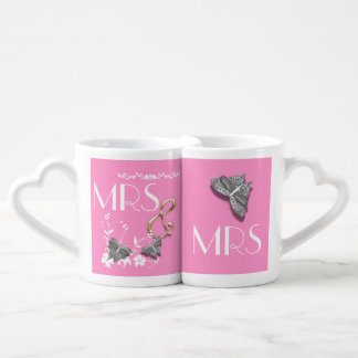 Mrs and Mrs Butterflies and Flowers Couple Mugs