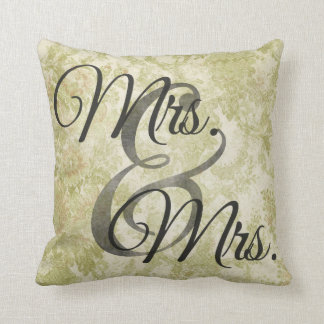 Mrs and Mrs Green lesbian Wedding Personalized Throw Pillow