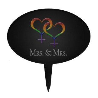 Mrs. and Mrs. Lesbian Pride Cake Pick